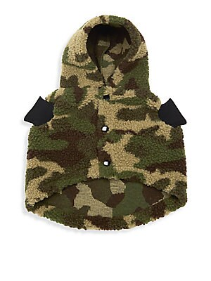 d2222fef1bb24 Very Important Puppies - Faux Shearling Hooded Camo Dog Coat