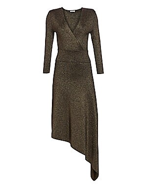 """Image of Beautifully fitted long sleeve dress with a deep v-neck, an asymmetric hem and padded shoulders for a feminine silhouette. V-neck Long sleeves Banded waist Asymmetric hem Viscose/polyester/metallic Dry clean Imported SIZE & FIT Fitted About 58"""" from shoul"""