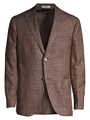 Image of A sophisticated blend of virgin wool, silk and linen in a textured melange finish adds chic appeal to this jacket. Notch lapel Long sleeves Button front Chest welt pocket Waist patch pockets Dual back vent Virgin wool/silk/linen Dry clean Made in Italy SI