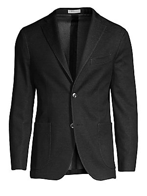 "Image of Dapper blazer is constructed with a denim finish. Notch lapels Long sleeves Button front Chest welt pocket Waist patch pockets Darted seams Dual back vents Cotton Dry clean Made in Italy SIZE & FIT About 28"" from shoulder to hem. Men Luxury Coll - Contemp"