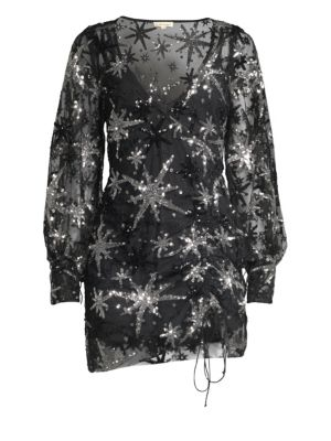 For Love & Lemons Stardust Sequined Sheer Mini Dress