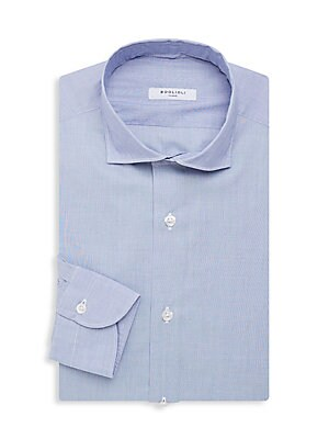 """Image of A versatile dress shirt in a solid hue. Spread collar Long sleeves Button cuffs Button front Cotton/modal Machine wash Made in Italy SIZE About 27"""" from shoulder to hem. Men Luxury Coll - Contemp Classic Collecti > Saks Fifth Avenue. Boglioli. Color: Blue"""