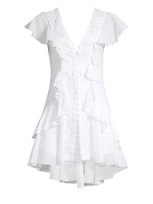 Charo Ruiz Lucia Ruffled Lace Mini Dress