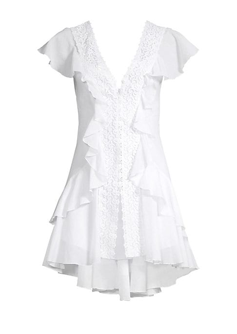 Image of Breezy layers of ruffles with lace trim and high-lo whem creates a charming, flirty dress.V-neck. Short ruffled sleeves. Front snap-button closure. Scoop back. High-low hem. Cotton/polyester. Hand wash. Made in Spain. SIZE & FIT. Fit-and-flare silhouette.