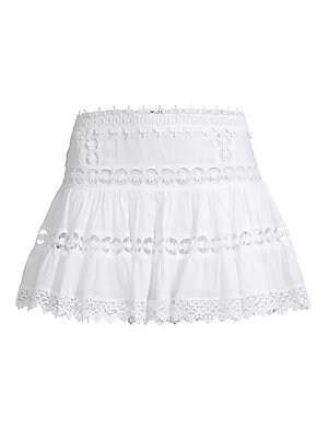 """Image of Ultra-feminine A-line skirt designed in a lightweight cotton-blend accented by crocheted lace panels. Elasticized waist Pull-on style Cotton/polyester Hand wash Imported SIZE & FIT A-line silhouette About 14"""" long Model shown is 5'10"""" (177cm) wearing US s"""