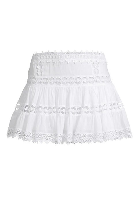 """Image of Ultra-feminine A-line skirt designed in a lightweight cotton-blend accented by crocheted lace panels. Elasticized waist. Pull-on style. Cotton/polyester. Hand wash. Imported. SIZE & FIT.A-line silhouette. About 14"""" long. Model shown is 5'10"""" (177cm) weari"""