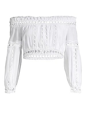 """Image of Ultra-feminine puff sleeve top trimmed with open panels of crochet lace. Off-the-shoulder styling Long puff sleeves Pull-on style Cotton/polyester Hand wash Made in Spain SIZE & FIT Cropped silhouette About 12"""" long Model shown is 5'10"""" (177cm) wearing US"""