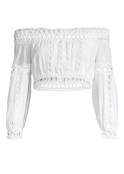 """Image of Ultra-feminine puff sleeve top trimmed with open panels of crochet lace. Off-the-shoulder styling. Long puff sleeves. Pull-on style. Cotton/polyester. Hand wash. Made in Spain. SIZE & FIT. Cropped silhouette. About 12"""" long. Model shown is 5'10"""" (177cm) w"""