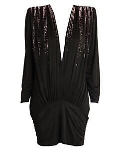 ac1cd5cd5c6 Attico. Fluid Jersey Drop-Waist Mini Dress