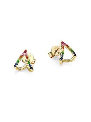 fab367ee2 EF Collection - 14K Yellow Gold, Diamond & Rainbow Multi-Stone Chevron  Huggie Earrings - saks.com