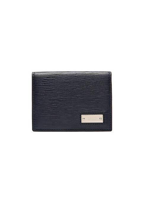 "Image of Classic bi-fold card holder in textured leather details. Six card slots. Leather. Imported. SIZE.4""W x 2.7""H."