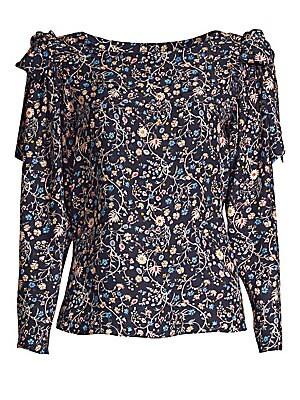 a23b122c1c977f Rebecca Taylor - Vivanna Floral Silk Long-Sleeve Top