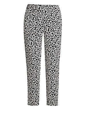 Image of These stretch cotton ankle pants are embroidered with delicate jacquard daises for a feminine pant that exudes a sophisticated sartorial air. Banded waist Front zip fly Side slip pockets Jacquard finish Cotton/viscose/elastane Reduced dry clean Imported S