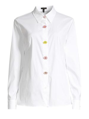 Escada Flower Button Cotton Shirt