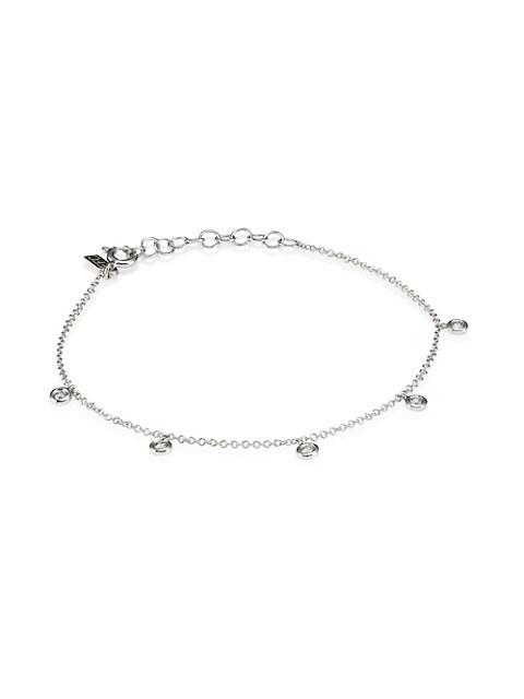 14K White Gold & Diamond 5 Bezel Bracelet