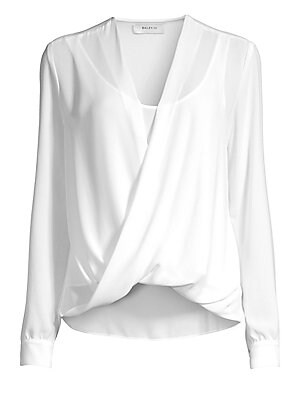 """Image of A fluid draped front adds an easy elegance to this V-neck blouse. Surplice V-neck Long sleeves Buttoned cuffs Pullover style High-low hem Polyester Dry clean Made in USA SIZE & FIT About 26"""" from shoulder to hem Model shown is 5'10"""" (177cm) wearing US siz"""