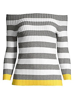"Image of A ribbed construction enhances the fitted nature of this shoulder-baring top finished with a contrast stripe. Off-the-shoulder Three-quarter length sleeves Pullover style Viscose/polyester Dry clean Made in USA SIZE & FIT Fitted silhouette About 20"" from"
