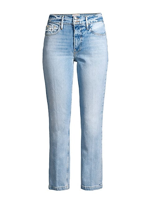 """Image of A two-button closure and cropped leg enhance these faded stretch-cotton jeans. Belt loops. Zip fly with two-button closure. Five-pocket style. Cotton/polyester/elastane. Machine wash. Made in USA. SIZE & FIT. Rise, about 10"""".Inseam, about 28"""".Leg opening,"""