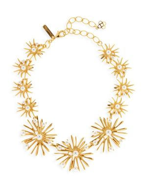 Oscar De La Renta Classic Swarovski Crystal Pearl Starburst Necklace