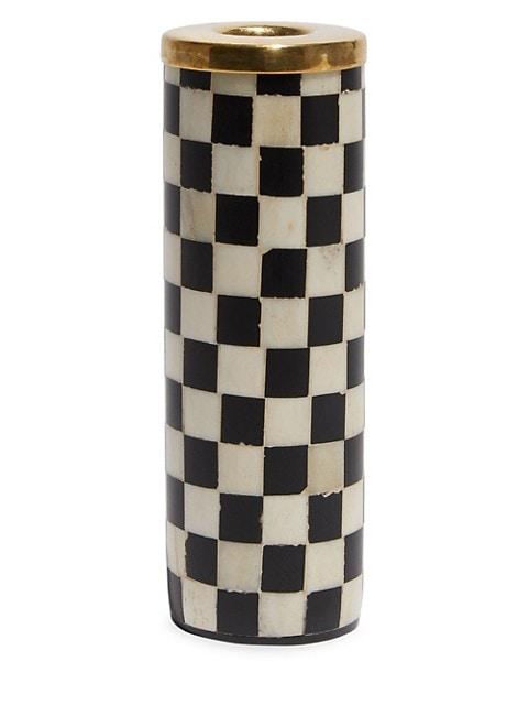 Two-Piece Checkered Bone Candlesticks