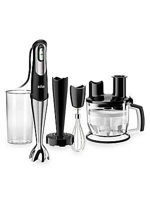 "Image of A hassel-free arrangement for your everyday kitchen chores, this multipurpose hand blender system efficiently simplifies while bringing versatility. Set includes: 1 chopper attachment/1 masher attachment/1 whisk head/1 beaker 2.24""W x 15.59""H x 2.24""D Sta"