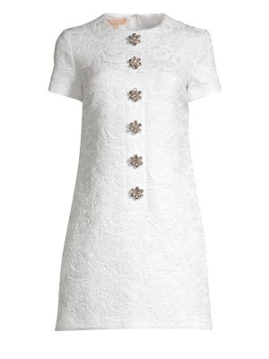 Jacquard Floral Embellished Shift Dress by Michael Kors Collection