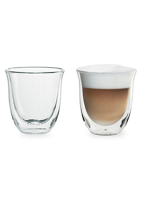 "Image of .The thermal effect of the double wall helps keep drinks the perfect temp. .2-Pack. .2.5 ounce capacity. .Double-wall thermo. .Condensation free. .Dishwasher safe. .3.7""H X 3.5""L X 3.5""W. .Glass. .Imported. ."
