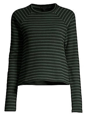 "Image of Allover stripes elevate this cool cotton athleisure top. Roundneck Long sleeves Pullover style Cotton/polyester Machine wash Made in USA SIZE & FIT About 21"" from shoulder to hem Model shown is 5'10"" (177cm) wearing US size Small. Contemporary Sp - Casual"