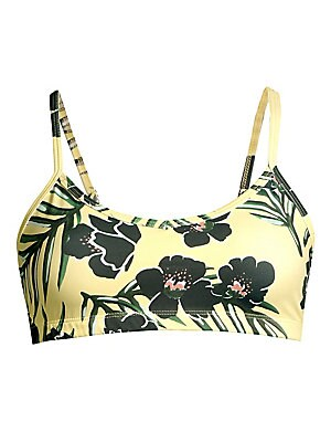"Image of Allover floral print elevates this cool stretch yoga bra. Scoopneck Adjustable straps Sleeveless Pullover style Polyester/spandex Machine wash Made in USA SIZE & FIT About 9.5"" from shoulder to hem Model shown is 5'10"" (177cm) wearing US size Small. Conte"