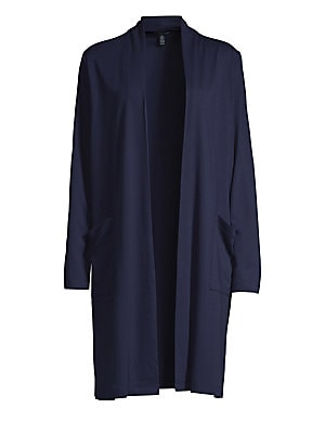 """Image of Fluid knit cardigan lends contemporary styling to this cardigan. Shawl collar Long sleeves Open front Waist patch pockets Tencel lyocell/spandex Machine wash Made in USA SIZE & FIT About 45"""" from shoulder to hem Model shown is 5'10"""" (177cm) wearing US siz"""