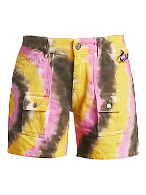 Image of From the Paradise Collection. Button-fly washed denim shorts boast utility styling with a multicolor tie-dye finish. Belt loops Button fly with button closure Front patch pockets Flap button-through pockets Back patch pockets Waist carabineer loop Back lo