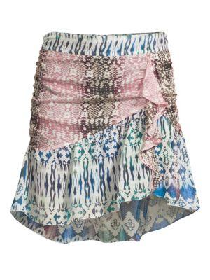 Ramy Brook Skirts Estee Snakeskin Ruffle Skirt