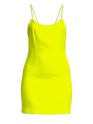 "Image of A cute figure-accentuating mini dress with a sexy open back and delicate spaghetti straps. Scoopneck Sleeveless Spaghetti straps Exposed back zip Seamed detail Open back Lined Triacetate/polyester Dry clean Imported SIZE & FIT About 34"" from shoulder to h"