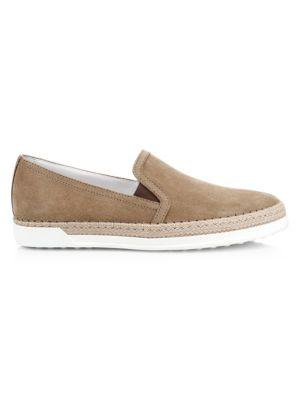 Tod S Raffia Suede Slip On Sneakers