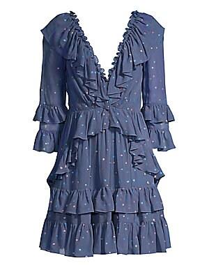 Glitter Polka Dot Ruffle Dress by Rebecca Taylor