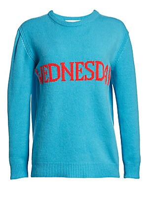 """Image of A bright intarsia knit adds a playful touch to this cozy pullover perfect for casual Sunday outings. Ribbed roundneck Long sleeves Dropped shoulders Ribbed cuffs and hem Pullover style Virgin wool/cashmere Dry clean Made in Italy SIZE & FIT About 27"""" from"""