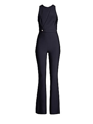 Image of Hug all the right curves with this fitted bandage pantsuit. Featuring a high neckline with cut-out detailing across the bust, and semi-flared pant legs, this pantsuit creates a flattering and sophisticated silhouette. Roundneck Sleeveless Concealed back z