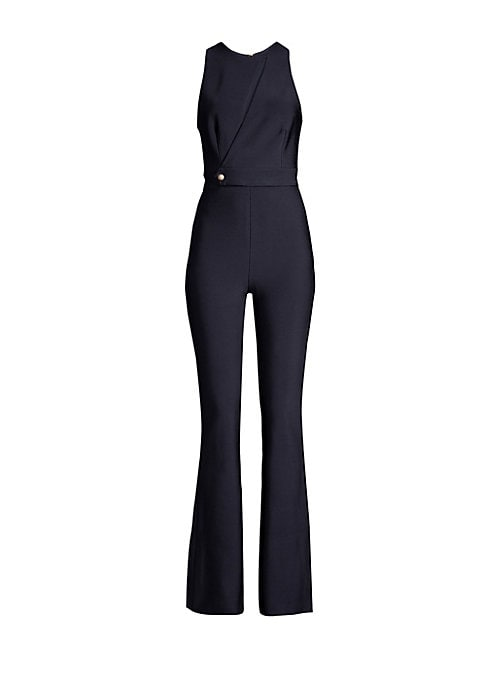 Image of Hug all the right curves with this fitted bandage pantsuit. Featuring a high neckline with cut-out detailing across the bust, and semi-flared pant legs, this pantsuit creates a flattering and sophisticated silhouette. Roundneck. Sleeveless. Concealed back