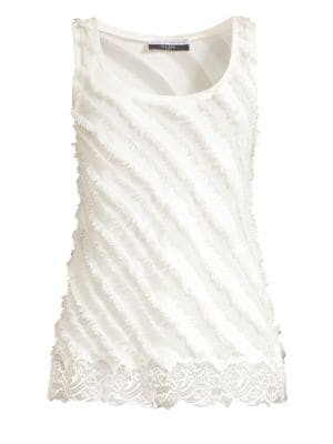 Faith Connexion Fringed Lace-Hem Tank Top