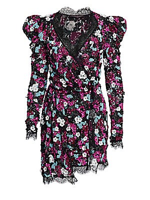 "Image of This elegant dress is embroidered with allover sequins and flowers and defined by a lace trim. Surpliceneck Long sleeves Front overlap with two-button closure High-low hem Polyamide Hand wash Imported SIZE & FIT About 31"" from shoulder to hem Model shown"