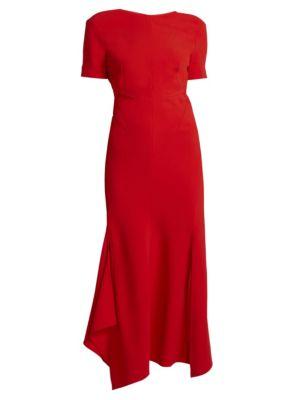 Victoria Beckham Asymmetric Open Back Midi Dress