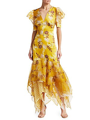 5a96a0ceb5054 Silvia Tcherassi - Lycka Floral Puff-Sleeve Tulle Handkerchief Hem Mermaid  Dress