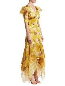 27e32cc8a15 Silvia Tcherassi - Lycka Floral Puff-Sleeve Tulle Handkerchief Hem Mermaid  Dress