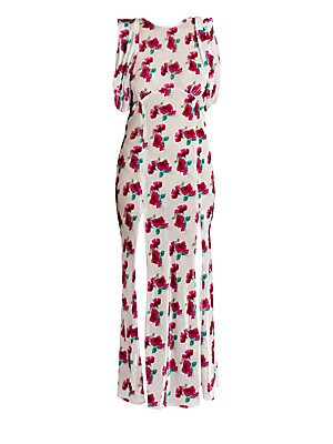 f31a02781 ATTICO Floral Velvet Gathered-Sleeve Gown - Size 38 (4) 0 (Xxs) Or Smaller  on COOLS