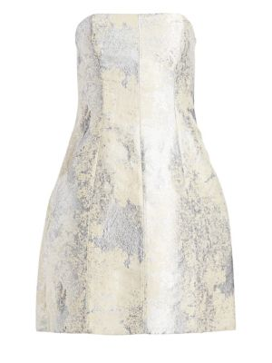 Halston Strapless Metallic Jacquard Bubble Dress