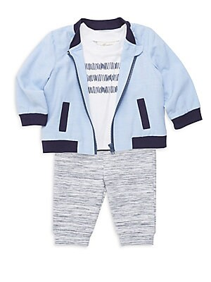 Image of The perfect casual ensemble, this zip-front jacket, graphic tee and heathered sweats will keep him cozy. Polyester/cotton/spandex. Machine wash. Imported. JACKET Baseball collar Long sleeves Front zip close Side slip pockets Banded trim SHIRT Roundneck Sh