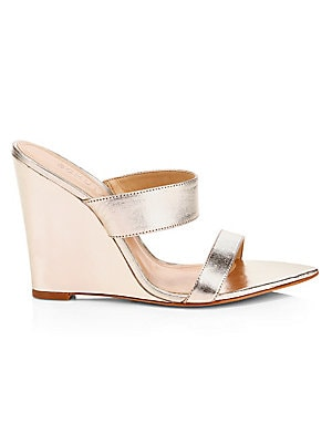3e57c4771 Schutz - Soraya Metallic Leather Wedge Sandals - saks.com
