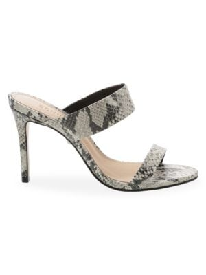 Schutz Leia Snake Embossed Double Strap Sandals
