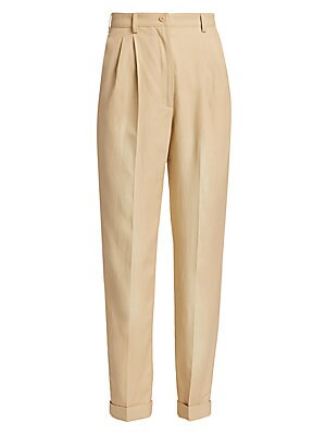 Image of Alberta Ferretti's twill pants are constructed with understated front pleats creating a tailored silhouette. Minimalist in design, they feature a full leg that tapers to a cuffed hem. Belt loops Zip fly with button closure Side-seam pockets Back flap pock