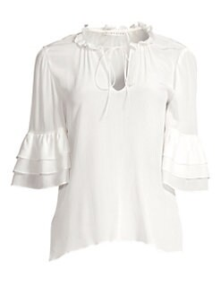 f316637bb33d3 Julius Silk Ruffled Elbow-Sleeve Tie Blouse OFF WHITE. QUICK VIEW. Product  image